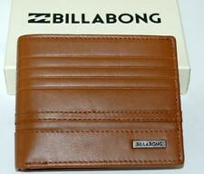 BILLABONG FLIP WALLET NEW PHOENIX 9 BLACK TAN LEATHER MENS LOGO bifold Surf HOT!
