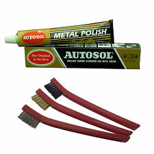 Autosol Solvol Chrome Metal Alu Cleaner & Polish + 3 pcs Detailing Brush Set