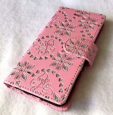 For iPhone 6 6S -Leather Credit Card Wallet Pouch Case Cover Pink Glitter Flower