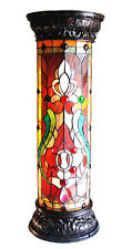Stained Glass Lamp Tiffany Style Victorian Pedestal Handcrafted Accent Light