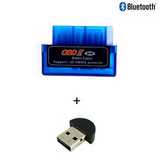 Super Mini ELM327 Bluetooth OBD2 Scanner v2.1 + Bluetooth USB Dongle - Blue