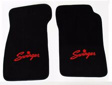 New! Black Carpet Floor Mats 1967-1976 Dodge Dart Swinger Logo Red Pair Set 2