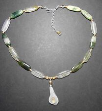 HANDMADE NECKLACE - GREEN MOSS AGATE & WHITE JADE CALLA LILY