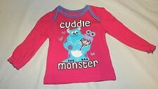 New Disney Baby Girl Shirt Long Sleeve Size 3-6 M Monsters Inc Boo Mike Sulley