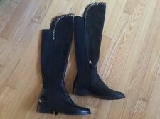 Women's boots over the knee GRIGIARANCIO ITALY black leather goldtone stud Sz 36