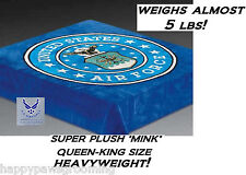 GENUINE US AIR FORCE SEAL QUEEN-KING BLANKET HEAVYWEIGHT BED MINK PLUSH 78x94in