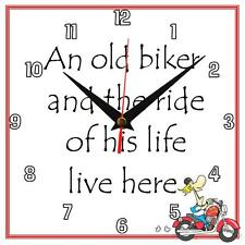 "Handmade ""An old Biker"" novelty fun gift present wall clock"