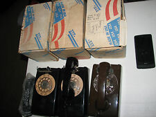 2 Bell System Wall Telephone Western Electric Rotary Dial Black Phone + 1 ITT