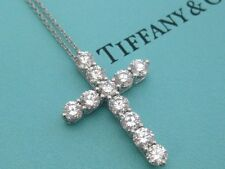 TIFFANY & CO. DIAMOND CROSS NECKLACE PLATINUM LARGE MODEL 1.71 TCW NEW