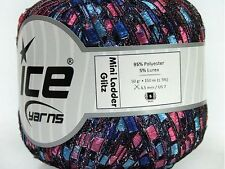 Blues, Pinks, Purple with Silver Sparkle Mini Ladder Glitz Ribbon Yarn Ice 38723