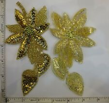 Sequin Applique, Glass Beads Beaded Sew On Sequin Applique Motif Patch Gold 1pc