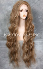 """HEAT SAFE Blonde Brown mix Wavy EXTRA long 32"""" Lace Front Wig  JSTA 8-27-613"""