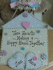 New Home Plaque Sign  Housewarming Gift Two Hearts Personalised