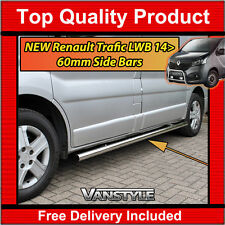 RENAULT TRAFIC 14  LWB 60MM SIDE BARS POLISHED QUALITY STAINLESS STEEL CHROME