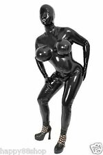 100%Latex Rubber Tights Catsuit Inflatable chest Bodysuit Full-body Suit XS-XXL