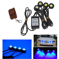 4 Strip Vehicle Car Grille Blue emergency Hawkeye Flashing Strobe LED lights