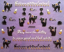 Nail Art 3D Decal Stickers Black Cats Hearts Halloween JH084