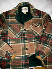 VTG WOOLRICH USA SHADOW TARTAN PLAID PLUSH FLEECE LINED WOOL JACKET-2 POCKET-M/L