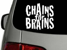 Chains for Brains Disc Golf decal sticker 6 x 5 inches white