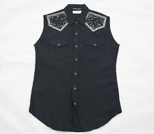 Saint Laurent Paris Black Sleeveless Studded Western Shirt Size Small