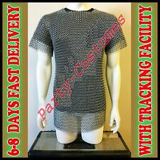 ALUMINIUM CHAINMAIL SHIRT BUTTED ALUMINUM CHAIN MAIL HAUBERGEON MEDIEVAL