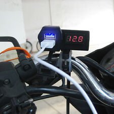 Waterproof 12v Motorcycle USB Charger Power Adapter Socket + Voltage Voltmeter