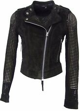 Biker jacket suede leather black perforated sleeve detail fully lined UK size 8