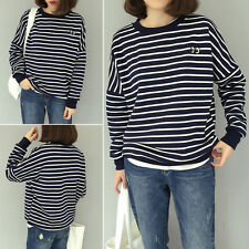 Stylish Korean Girl Striped Loose Casual T-Shirt Spring Blouse Tops