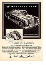 1958 MERCEDES-BENZ 220S CONVERTIBLE  ~  CLASSIC ORIGINAL PRINT AD
