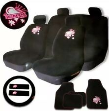 PINK & BLACK WASHABLE 15PC PRINCESS STYLE UNIVERSAL FULL CAR SEAT COVER SET