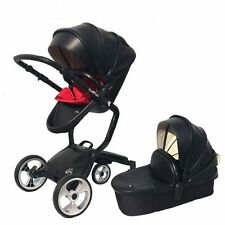 Baby stroller 3 in 1 leather Carriage Infant Foldable Pram high view pushchair