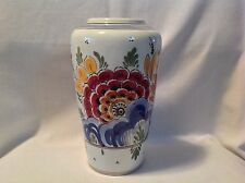 "Large Delft Holland 8"" Vase Hand Painted Multi Colors Floral Flowers Signed"