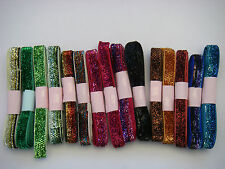 JOB LOT 10 Metres Sparkly Velvet Glitter Ribbon 10mm assorted Colours NEW 10x 1m