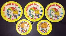 1983 Rainbow Brite Pretend Tin Tea Plate Set Of 5 Hallmark Kids Child Vintage