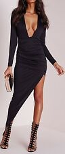 Ladies Womens long sleeve plunge asymmetric hem bodycon dress black Size 4-10