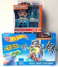 Hot Wheels Triple Target Takedown Track Set + Matchbox Car Wash Playset LOT