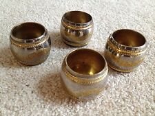 Set of 4  Silver & Brass Color Metal Napkin Rings