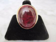 HUGE 50 CT PLUS RED BLOOD PIGEON CABOCHON  RUBY 18 KT GOLD RING WT, 22.8 DWT.