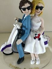 Personalised Polymer Clay Cake Topper - Couple on Scooter