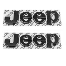 2x Black Car Metal Letter JEEP Emblem Logo Stickers Cherokee Wrangler Unlimited