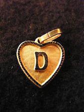 Pendentif Coeur Médaillon en Or Plaqué Lettre D 1,5 cm