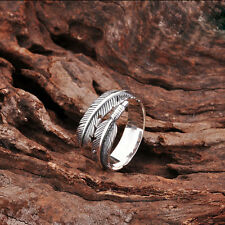 Unisex Feather 925 Sterling Silver Little Finger Ring HBR7