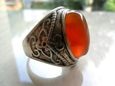 Elegant Tibet silver Carved eagle orange  Gemstone men's ring