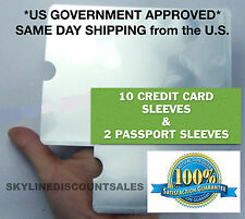 New RFID Blocking 10 Credit Card & 2 Passport Holder Protector Sleeves