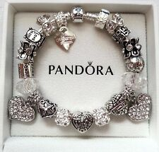 Authentic Pandora WIFE I Love You Forever White Barrel Clasps 925 Bracelet