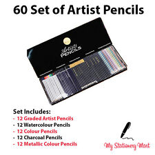 60 Set Artists Pencils Watercolour Aquarelle Metallic Graded Like Faber Castell