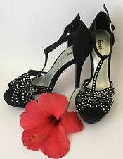 Fioni Night Black with Silver Bling Strappy Stiletto's Size: 5