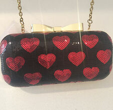 NWT Betsey Johnson Red Heart Sequins Black Gold Clutch Chain strap bag handbag
