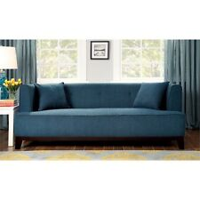 Furniture of America Waylin Tufted Fabric Sofa in Dark Teal