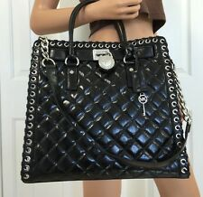 NWT Michael Kors Hippie Grommet Hamilton Leather Large N/S Tote BLACK SILVER